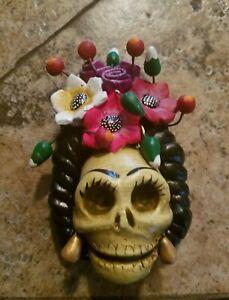 Frida Kahlo Skull, Concepcion Aguilar, Catrina Josefina, Oaxaca, Mexico,Clay