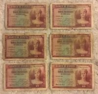 Lot Of 6 X 10 Pesetas. Spain Banknotes. Emision 1935. Vintage Banknotes.