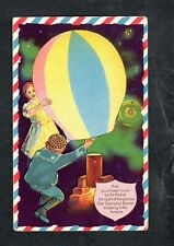 B264 postcard Independence Day July 4th Hot air balloon children unused
