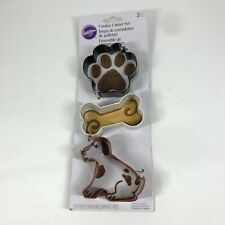 Wilton 3 Piece Dog Shape Cookie Cutter Set Paw Bone Puppy Pet Black Brown White