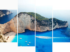Large 4 Panel Set Wall Art Canvas Pictures Zante Greek Beach Sea Holiday Prints