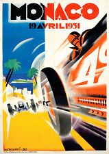 Reproduction Vintage Monaco Grand Prix Poster, A2