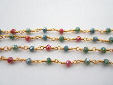 1 metro catenina rosario color oro concatenata cristalli 3 colori  di 3,5 mm 3g