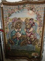 BOYDS BEARS FRIENDS-AFTERNOON TEA 1996 WOVEN COTTON AFGHAN THROW MADE USA