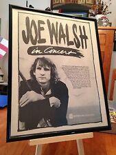 "Big 11X14 Framed Original ""Joe Walsh In Concert"" Lp Album Cd Radio Show Promo Ad"