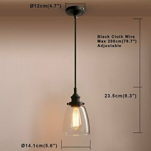 Pathson Retro Pendant Lighting, Industrial Small Hanging Light with Clear Glass