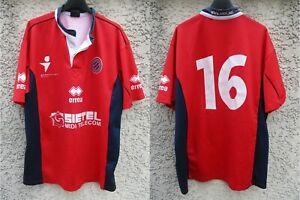 Maillot rugby A.S BÉZIERS ASBH porté n°16 Errea shirt vintage rouge XXL
