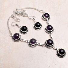 Schwarz ONYX ethnische handgemachte Halskette + Ohrringe Schmuck 33 GMS 72366