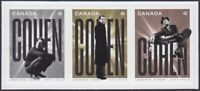 LEONARD COHEN = Singer = strip of 3 diff stamps cut from BK Canada 2019 MNH-VF