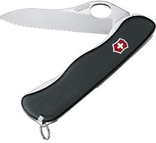 Victorinox Swiss Army Knife Black One Hand Sentinel With Clip Serrated 54886 NEW