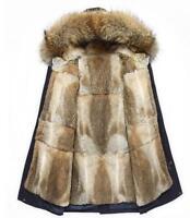 100% Real Rabbit Fur Long Men's Thick Luxury Jacket Coat Hooded Parka Outwear