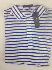 Polo Ralph Lauren Mens Polo Shirt XXL White Blue Striped Short Sleeve Cotton NEW