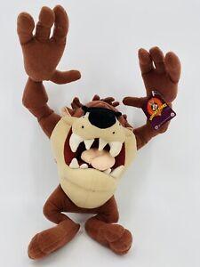 "2002 Nanco Looney Tunes Taz Tasmanian Devil 10"" Plush Stuffed Animal Arms Move"
