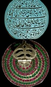 mughal handengraved turquoise stone seal studded on silver with rubies & emerald