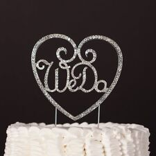 We Do Wedding Cake Pick Topper Silver Rhinestone Anniversary Engagement Party
