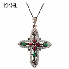 Luxury Cross Pendant Necklace Vintage Jewelry For Women Antique Gold Color Relig