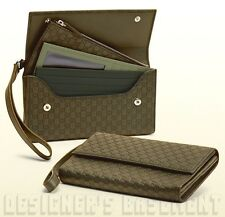 GUCCI green Leather Micro GUCCISSIMA travel document WRISTLET case NIB Authentic