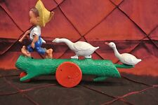 "Vtge Plastic Toy ""Goose Boy"" Farm Boy & Geese A Bolta Product Made in USA."