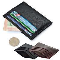 KQ_ Men's Slim Credit Card Holder Faux Leather Wallet Coin Pocket Money Bag Purs