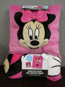 NWT Disney Minnie Mouse Character Pillow And Oversized Blanket 2 piece set