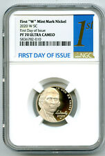 2020 W JEFFERSON PROOF NGC PF70 UCAM FIRST DAY ISSUE 5 CENT 1ST LABEL - RARE