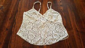 Victoria's Secret Vintage Cami Camisole Lace Off-White Sequin Small Wire Free