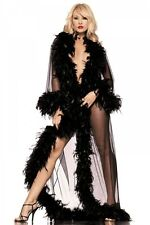 SHEER, ALL NYLON AND MARABOU FEATHERS GLAMOUR ROBE LINGERIE AND SEXY---ONE SIZE