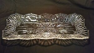 """Antique Clear Cut Glass Serving Dish Rectangle 17.5"""" VERY BEAUTIFUL"""