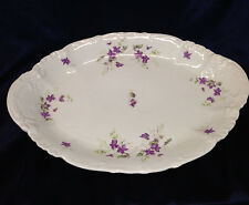 "HABSBURG CHINA AUSTRIA OVAL SERVING PLATTER 16 3/8"" VIOLETS PURPLE FLOWERS"