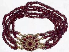 Georgian to Victorian 14k gold rose cut garnet multistrand bracelet