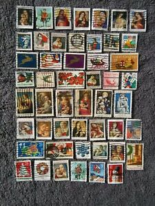 Vintage Christmas Postage Stamps (50)-Holiday Crafts/Decorations-LOT#7