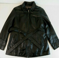 Wilsons Leather Large Women's Black Belted Zip Out Jacket - Full Zip Coat