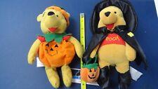 """Disney Halloween 2 Winnie the Pooh Witch BOO 2000 Pumpkin Mini Bean Bag Plush 8"""""""