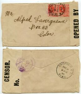 BRITISH GUIANA to PANAMA WW1 CENSORED 1918 SHIP 2c + 2c WAR TAX Manuscript