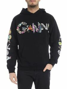 New Versus Versace Men's Logo Hoodie Hooded Sweatshirt Black M 1989 Print