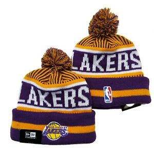 NEW ERA NBA Los Angeles Lakers On field Sideline Beanie Winter Pom Knit Cap Hat