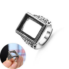 Antique Silver Rectangle Adjustable Inlaid Beewax Amber Ring Blanks Jewelry DIY