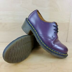 DR MARTENS AMORY WOMENS LADIES PURPLE LEATHER CHUNKY HEEL SHOES SIZE UK 6