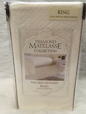 "New Diamond Matelasse Collection Tailored Bedskirt Ivory - King Size 78"" x 80"""