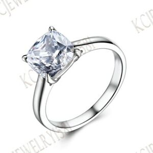 Solid 18K White Gold Solitaire Cushion Cut Cubic Zirconia Engagement Ring