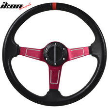 350MM PVC 6 Hole Steering Wheel Deep Dish Red Spoke Red Ring & Black Emblem