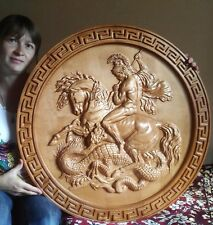 Very large Icon Saint George and the Dragon 3D Art Orthodox  Carved  Wood 30""