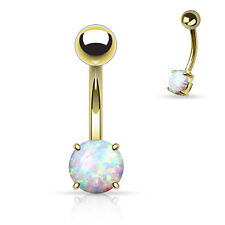 1 Pc Gold IP Plated White Opal Prong Set Navel Belly Button Ring 14g 3/8""