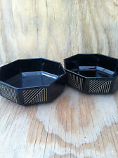 Arcopal France Dishes Novoctime Black Octagon Marine Gold Lines Bowls Set Of 2