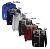 Mens Aztec Print Zip Up Hoody Sweatshirt Hooded Fleece Top Jumpers
