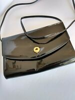 Excellent Retro Shiny Black Leather Cabretti Purse Gold Clasp with Strap