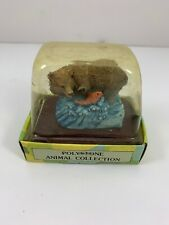 Vtg Midwestern Home Products Golden Supex Michael Polystone Bear Fish Figurine