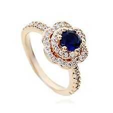 VINTAGE INSPIRED 18K GOLD PLATED GENUINE SAPPHIRE BLUE/CLEAR CUBIC ZIRCONIA RING