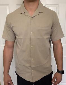Lululemon Mens Size XS Airing Easy Camp Collar SS Shirt Sand TFSD Short Sleeve