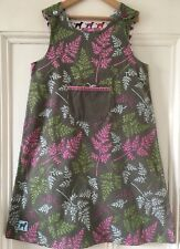 Joules Girls Green +Blue Purple Pink Fern Print Pinafore Dress 8-9 Years 128-134